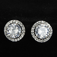 Graceful Platinum Plated With Zircon Round Shaped Women's Stud Earrings