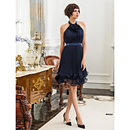 Homecoming Cocktail Party/Holiday Dress - Dark Navy Sheath/Column High Neck Knee-length Chiffon/Stretch Satin