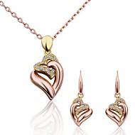 Komplet nakita Ljubav Moda luksuzni nakit 18K zlato imitacija Diamond Legura Zlato zaslon u boji 1 Ogrlica 1 par naušnica Za Party 3pcs