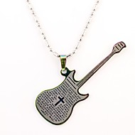 Personalized Gift Guitar Shaped Engraved Necklace (Assorted Colors)