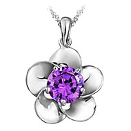 Gorgeous Platina Women's Slivery Pendant Necklace (1 Pc)(White,Purple)