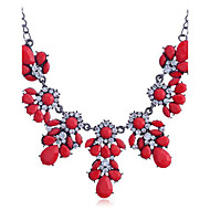 Lureme®Colorful Flowers with Crystals Statement Necklace