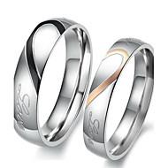Anéis Amor Coração Aniversário Noivado Casamento Festa Diário Jóias Aço Inoxidável Casal Anéis de Casal 1 par,5 6 7 8 9 10 11 12 Branco