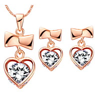 Sweet Silver-Plated Clear Cubic Zirconia Heart With Bowknot Women's Jewelry Set(Necklace,Earrings)(Gold,Silver)