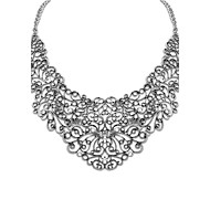 European Style (Flowers) Plated Alloy Rhinestone Cutout Flowers Statement Necklace (Bronze and Sliver Color) (1 pc)