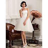 A-line/Princess Plus Sizes Wedding Dress - Ivory Knee-length Strapless Satin/Tulle