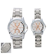 Personalized Gift  Couple's Black  Case Stainless Steel Band Quartz Analog Wrist Engraved Watch  with Gift Box