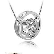 Fashion (forma di cuore) Collana d'argento del pendente di cristallo (bianco, Marina, Rosa) (1 Pc)