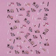 3D Design Fekete szeretet szavakkal Pattern strasszos Nail Art matricák