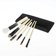 6PCS houten handvat make-up borstel set met roze kunstleer Pouch
