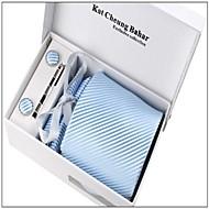 män mode ljusblå randig polyester slips inställd: tie näsduk manschettknapp slips klipp med box väska