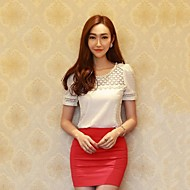 Women's Solid/Lace White T-shirt,Sweet Round Neck Short Sleeve