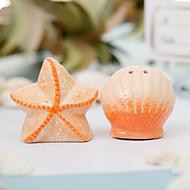 cáscara de cerámica y sal y pimienta estrellas favor de la boda saleros (juego de 2)