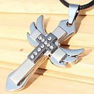 Hangertjes ketting Leder Titanium Staal Kruisvorm Sieraden Wings Uniek ontwerp Modieus Sieraden Bruiloft Feest Dagelijks Causaal 1 stuks