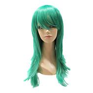 캡리스 합성 녹색 똑 바른 합성 머리 가득 차있는 가발 당을위한