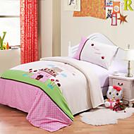 Huani® Duvet Cover Set, 2-Piece for Kids, 100% Cotton Contemporary Style Embroidery Print Princess Castle