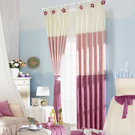 Country Two Panels Stripe Pink Bedroom Polyester Panel Curtains Drapes