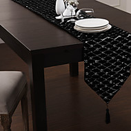 Noir Polyester Chemins de table