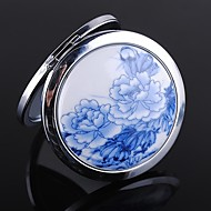 Asian Tema Peony Pattern Round Stainless Steel Compact Mirror Favor
