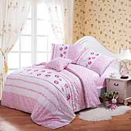 Huani® Duvet Cover Set for Kids, 100% Cotton Contemporary Style Embroidery Print Floral Princess