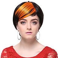wysokiej jakości syntetyczne pomarańczowy proste włosy grzywka