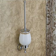 Toilet Brush Holder Chrome Wall Mounted 12*12*35cm(4.72*4.72*13.77inch) Brass / Ceramic Contemporary