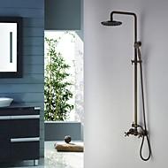 Antik Duschsystem Regendusche / Handdusche inklusive with  Keramisches Ventil Zwei Griffe Drei Löcher for  Antikes Messing ,
