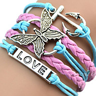 leather Charm Bracelets European Butterfly 18cm Women's Multicolor Leather ID Bracelet inspirational bracelets(1 Pc) Christmas Gifts