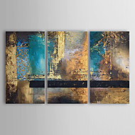 Hand-Painted Abstract Horizontal Three Panels Canvas Oil Painting For Home Decoration