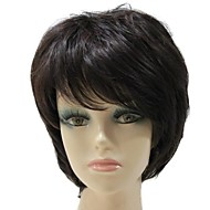 Capless Synthetic Short Wave Side Bang Dark Brown Synthetic Hair Full Wig