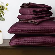 Huani® Quilt Set,3 Pieces Plaid Aubergine Polyester