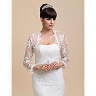 Wedding  Wraps Coats/Jackets Long Sleeve Lace Ivory Wedding / Party/Evening / Casual Open Front