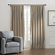 Neoclassical Two Panels Stripe Khaki Bedroom Polyester Panel Curtains Drapes
