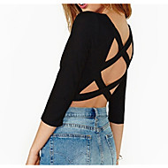 Women's Solid Black T-shirt ¾ Sleeve Backless/Criss-Cross