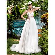 Lanting bruid a-lijn petite / grote maten trouwjurk-sweep / borstel trein lieverd kant / tule