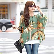 Mulheres Blusa Decote Cigano Manga ¾ Chifon / Poliéster Mulheres