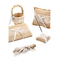 Linen Wedding Collection Set med Lace og båndet (5 stk)
