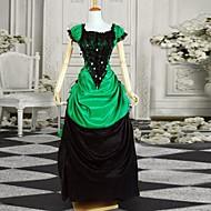 Black and Green Short Sleeves Elegant Satin Bustle Victorian Lolita Dress