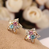 Cute Jewelry  Mini  Colorful  Gold-plated Set Auger Concave Pentagram Stud Earrings for Women