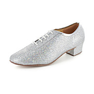 Non Customizable Women's Dance Shoes Modern/Ballroom/Practice Shoes Leatherette Chunky Heel Silver/Gray