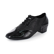 Non Customizable Men's Dance Shoes Modern Leatherette Chunky Heel Black/Red