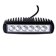 18W(6*3W Epsitar) 2650LM 6000K 4 Inch Car LED Work Light Bar Flood Lamp for SUV Truck DC9-32V