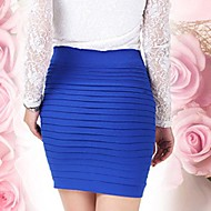 Women's Solid Blue/Purple/Dark Pink Skirt,Bodycon Mini Gathered