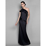 TS Couture® Formal Evening / Prom / Military Ball Dress - Black Plus Sizes / Petite Sheath/Column One Shoulder Floor-length Stretch Satin