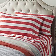 Thick Red Stripe Sheet Set, 4 Pieces 100% Cotton