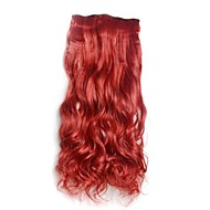 Wine Red Clip in Extensions Hari lange gewellte Haarteile