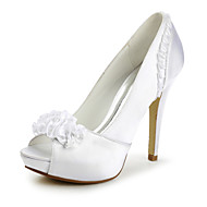 Women's Shoes Satin Spring / Summer / Fall / Winter Heels / Peep Toe / Platform Wedding Stiletto Heel Applique / Satin Flower / Ruffles