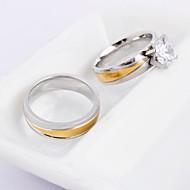 Snubní prsteny Titanová ocel Round Shape Módní Zlatá / stříbrná Šperky Svatební Párty Denní Ležérní
