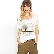 Dames v-Kraag Boomsilhouet gedrukte korte mouwen T-Shirt
