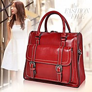 Women's Casual Fashion Genuine Leather Solid Color with Buckle Bags Totes